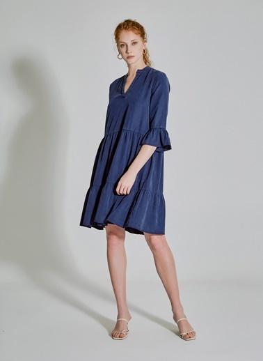 People By Fabrika Volan Detaylı Tencel Elbise Lacivert